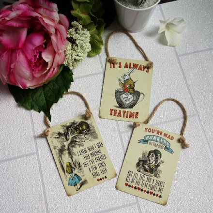 Alice In Wonderland Mini Hanging Metal Signs
